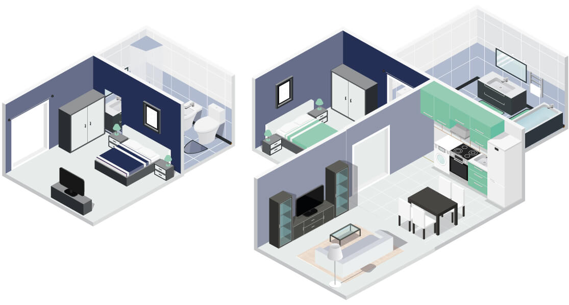 Showing Serviced Apartment Space Comparison